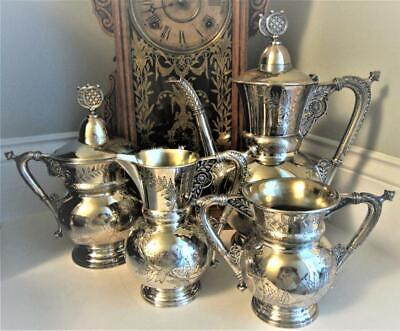 4pc TEA SET - MERIDEN B.Co. #1945 - BIRDs - Antique Quadruple Silverplate c.1886
