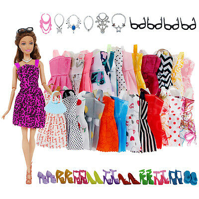 32PCS Barbie Doll Clothes Fashion Dress Handmade Party Gown Shoes Gift Necklaces