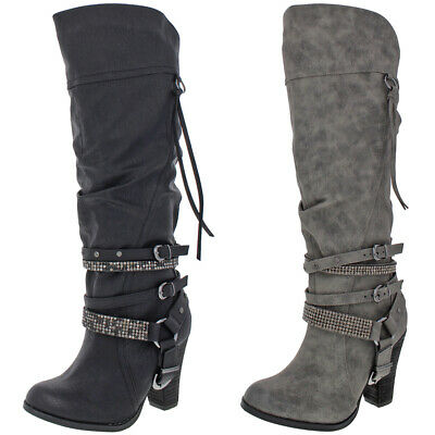 Not Rated Women's Stacey Faux Leather Heeled Knee-High Rhinestone Boot