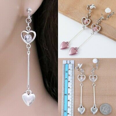 """#C10 NonPierced CLIP ON Round Crystal Ball Retro Silver Plated HEART 3"""" EARRINGS"""