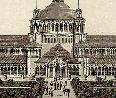 1893 Columbian Expo. Fish Building, Photo~Litho, Jersey Coffee Trade Card  K939