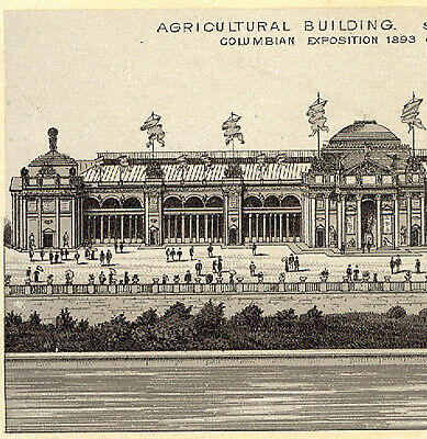 1893 Columbian Expo Agricultural Bld Photo~Litho, Jersey Coffee Trade Card  K750