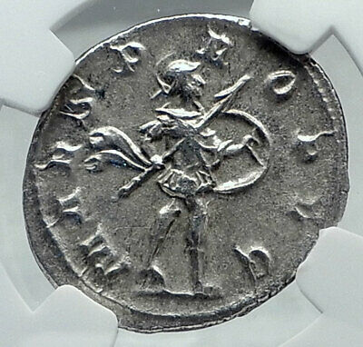 GORDIAN III Authentic Ancient Silver 243AD Rome Roman Coin MARS NGC i81150