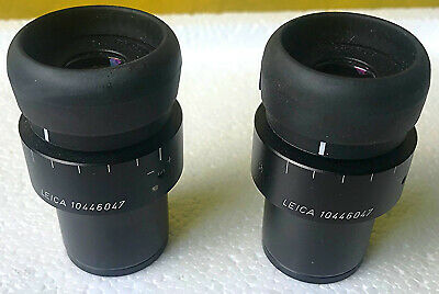 PAIR of LEICA 10 x 21 EYEPIECEs for MICROSCOPE FREE SHIPPING