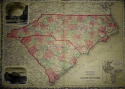 Vintage 1863 NORTH & SOUTH CAROLINA MAP Old Antique Original & Authentic