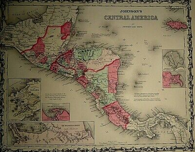 Vintage 1863 CENTRAL AMERICA MAP Old Antique Original & Authentic ~ Quick N Free