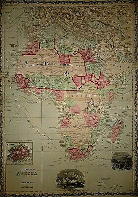 Vintage 1863 AFRICA MAP Old Antique Original & Authentic Atlas Map ~Quick N Free
