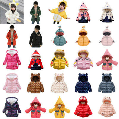 Kids Baby Boys Girls Long Sleeve Warm Winter Hooded Coat Jacket Outerwear Lot