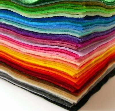 """New Pack of 48 Assorted Colour High Quality Craft Felt Squares 9"""" inches"""