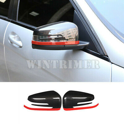 Carbon Fiber Look Rearview Mirror Eyebrow Cover Trim For Peugeot 3008 GT 16-19