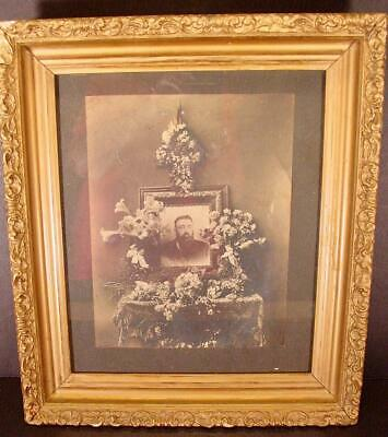 """Antique Mourning Framed Victorian Death Photo Picture Ornate Gold Frame 15"""" X 13"""