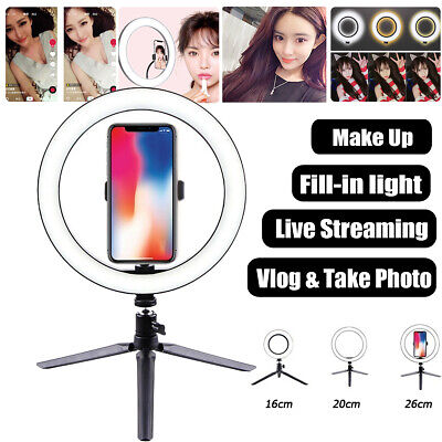 10 Inch LED Ring Light Lamp Phone Selfie Camera Photo Dimmable Tripod Stand Gift