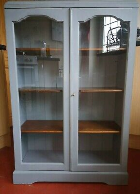 Antique Victorian Display China Bookcase In Tallanstown Grey Paint&Paper Library