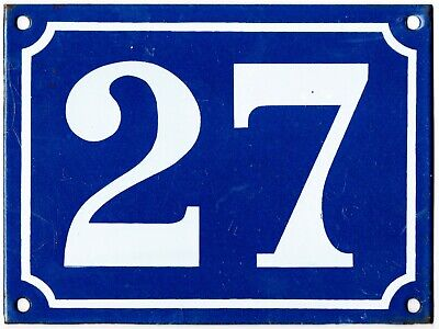 Large blue French house number 27 door gate plate plaque enamel steel metal sign