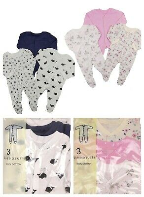 Baby Three Pack Babygrows Sleepsuits Footsies Boys and Girls Newborn to 18 Month