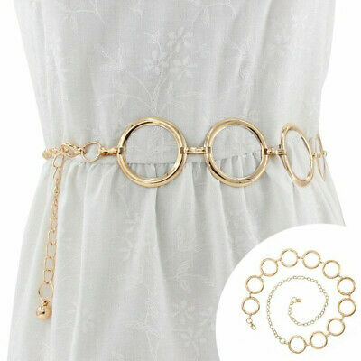 Circle Metal Belt Alloy Buckle Belt Lady Waist Chain Women's Metal Waistband