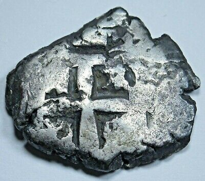 1757 Spanish Silver 2 Reales Cob Piece of 8 Real Two Bits Pirate Treasure Coin