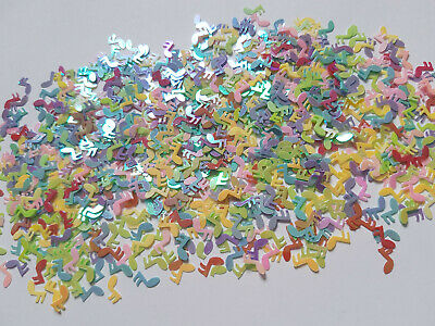 5g AB Plated Sequins/Confetti - 6mm - Musical Notes - Mixed Colour