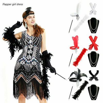 Gatsby 1920's Charleston Fancy Dress Flapper Gangster Costume Accessories Set AU