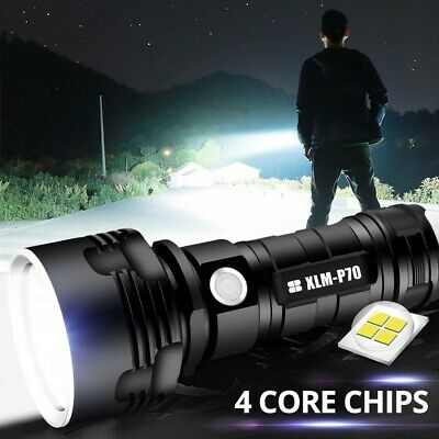 XLM-P70 Ultra Bright LED Flashlight Torch USB Rechargeable Waterproof Aluminum