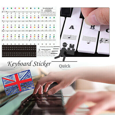 Removable Colorful Music Keyboard Piano Stickers For 49, 37 ,61or 88-KEY Piano
