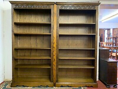 Fantastic Pair Of Old Charm Carved Oak Open Bookcases