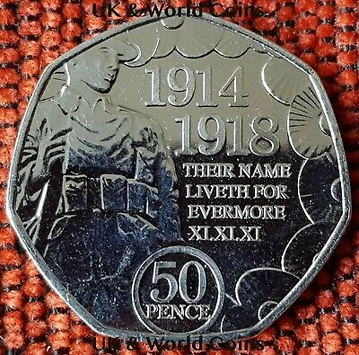 IOM Manx 2018 Remembrance Day WW1 Poppy AU 50p Coin