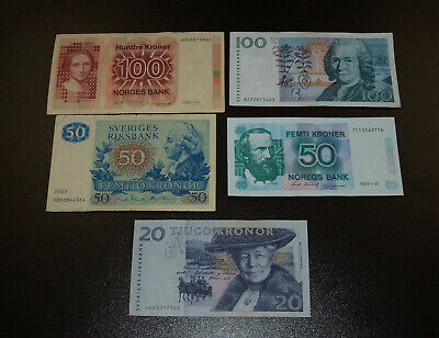 Five (5) Norway Banknotes - 20, 50 (2) and 100(2) Kroner Notes!