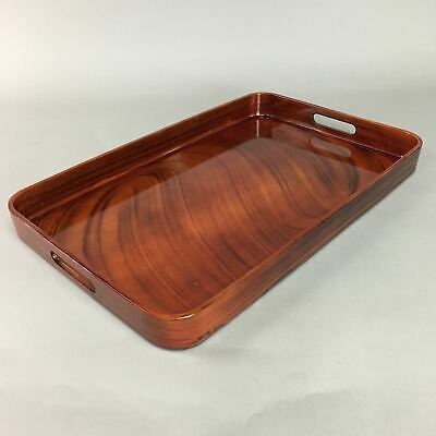 Japanese Shunkei Nuri Lacquer Ware Tray Vtg Obon Wood Rectangle Brown UR172