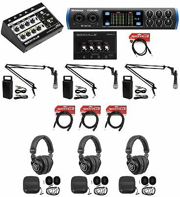 3-Person Podcast Podcasting Recording Bundle w/STUDIO 68C Interface+Mics+Booms