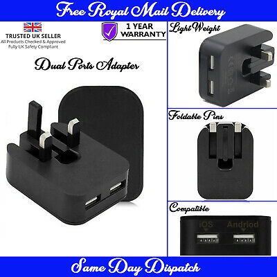 Dual USB 2.1 Amp Mains Adapter Wall Charger Plug For Apple iPhone 11/ 11 Pro Max