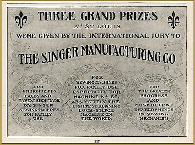 1904 c Singer Mfg Co Three Grand Prizes Given Sewing Machine Print Ad