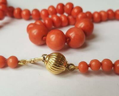 """Antique 18Ct Gold Large Natural Coral Necklace 23"""" 49 Grams"""