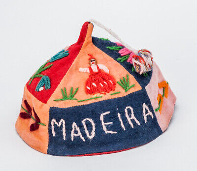Vintage 1970s Souvenir Felt Embroidered Hat from Madeira Blue/Orange/Red 56cm
