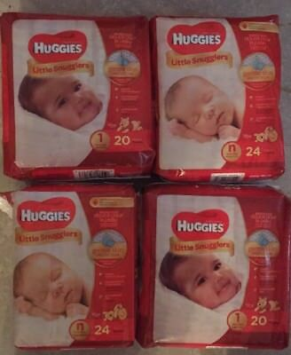 4 New Packs Of Huggies Little Snugglers Newborn/Size1  Diapers~88 Diapers Total