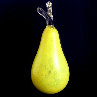 "Murano Glass Pear 8"" Mottled Yellow Green Clear Stem & Leaf Hand Blown Pristine"