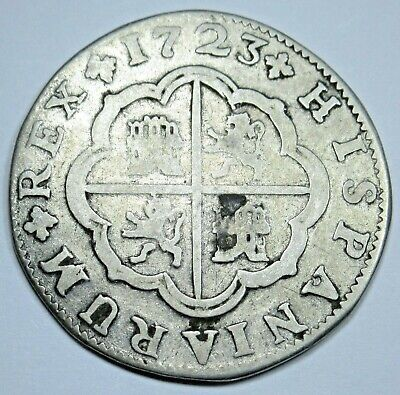1723 Spanish Silver 2 Reales Piece of 8 Real Antique Colonial Era Two Bits Coin