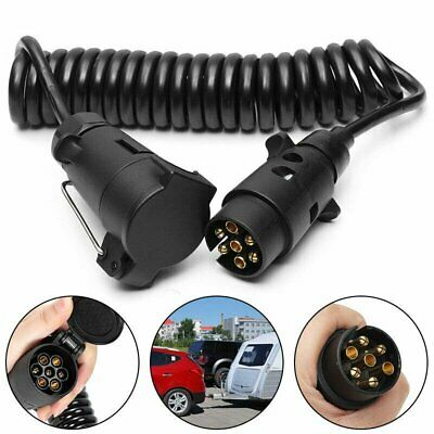 3M Trailer Board Light Cable Lead 7 Pin Extension Male to Male Socket Plug Curly