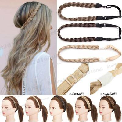 as human Braided Synthetic Headband Plaited Hair Band Extension 0.6in Wide Thick