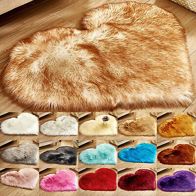 Love Heart Shaped Fluffy Rug Shaggy Floor Mat Soft Fur Home Bedroom Hairy Carpet