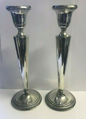 """Pair of Arrowsmith Sterling Weighted Candlestick Holders 10"""" Tall"""