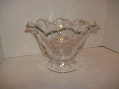 "Vintage Pedestal Teardrop Indiana Depression Glass Fruit Console Bowl MCM 6.75""H"