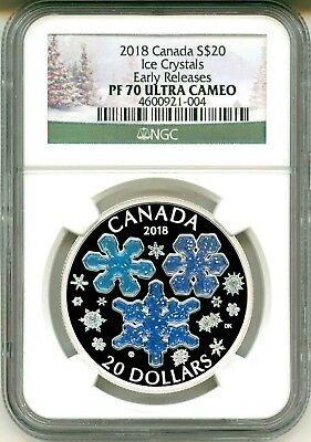 2018 Canada Ice Crystals 1 oz Silver Enameled Proof $20 NGC PF69 UC SKU51980