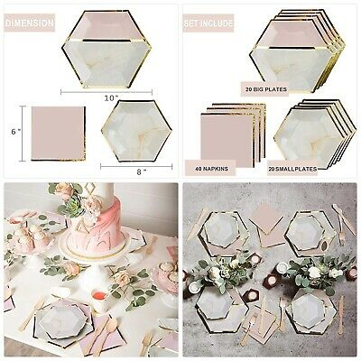 Disposable Paper Plates,Cups,Napkins,Tableware Sets Marble Party Supplies Perfe