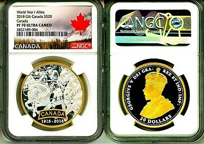 2018 Canada S$20 Gilt World War I Allies Canada NGC PF70 Ultra Cameo COA OGP