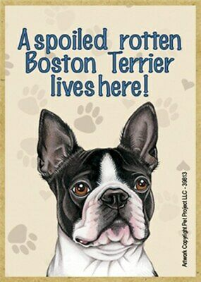 Details about  /A spoiled rotten Pitbull lives here BLK WHT Wood Fridge Magnet 2.5x3.5 Gift New