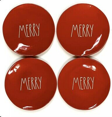"""Set of 4 NEW Rae Dunn 11"""" MERRY Plates Red w/ White Letters LL Dinner Large HTF"""