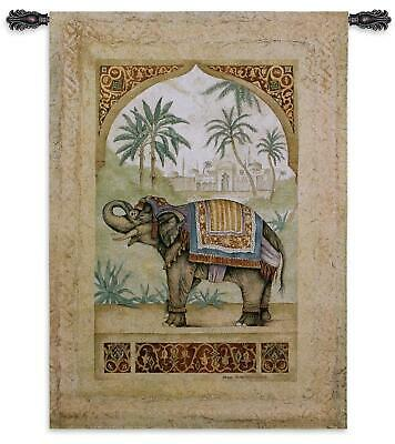 Old World Elephant II North American Made Woven Tapestry Wall Hanging