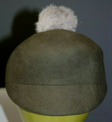 BCBGeneration Green Wool Hat  with an Angora Pompom On the Top