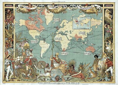 83814 Vintage Old 1886 British Empire Map Of The World LAMINATED POSTER DE